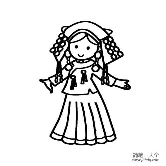 【美丽的哈瓦那】美丽的哈尼族少女简笔画图片大全