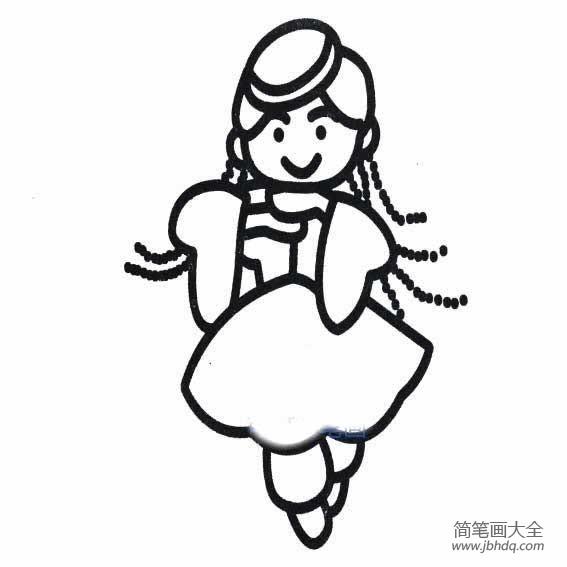 【维吾尔族服装简笔画】简单的维吾尔族姑娘简笔画