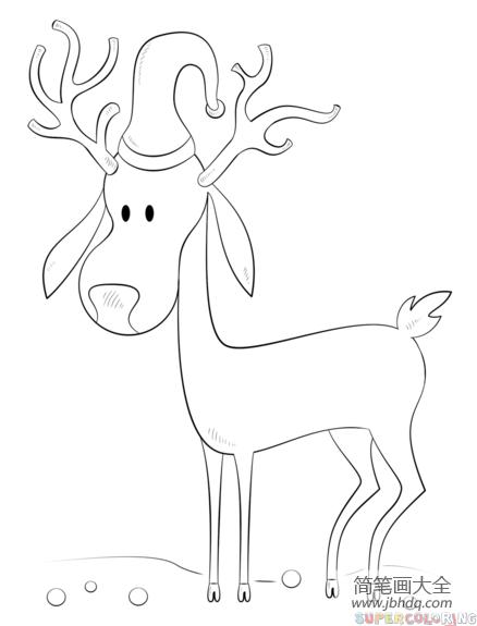 圣诞驯鹿怎么画_如何画卡通圣诞驯鹿