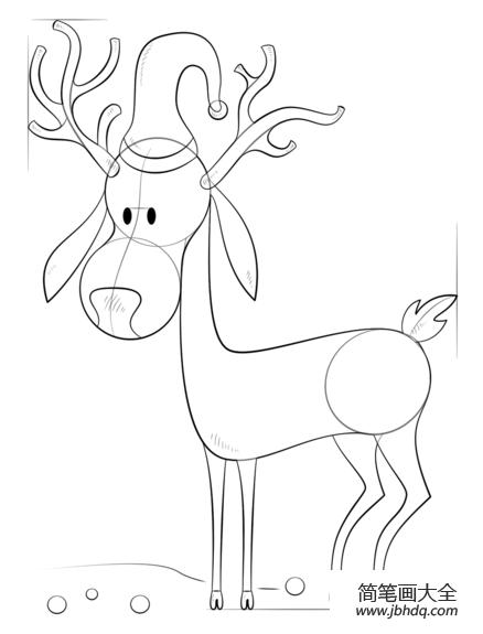 如何画卡通圣诞驯鹿