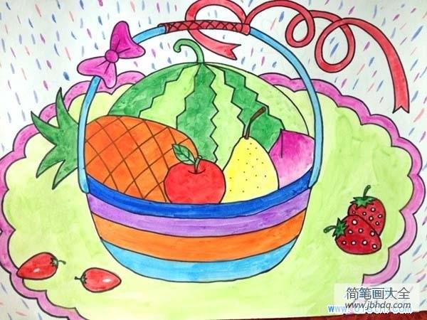 简单漂亮的水果摆盘_小学生漂亮的水果篮儿童画图片大全