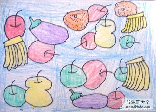 什么水果好吃_少儿好吃的水果儿童画蜡笔画作品大全