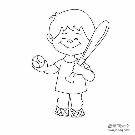 棒球服_拿着棒球的小男孩怎么画