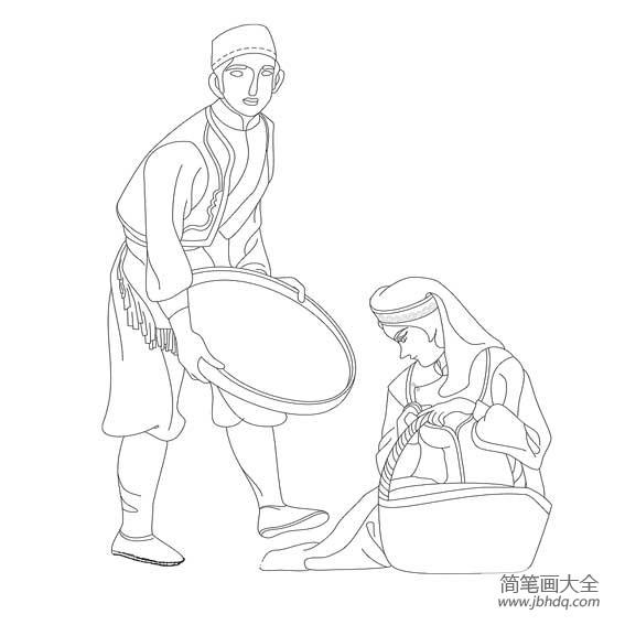 [维吾尔族服装简笔画]维吾尔族人物简笔画