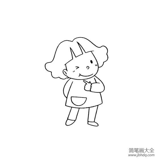 【俏皮的意思】俏皮的小女孩简笔画