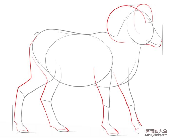 如何画大角羊