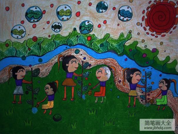 【植树节是几月几日】植树节蜡笔画:植树造氧