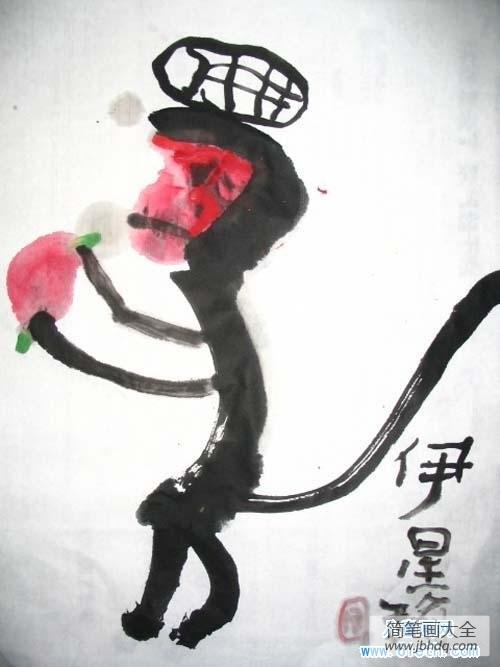 【水墨动物美术教案】少儿动物水墨画作品:猴子吃桃