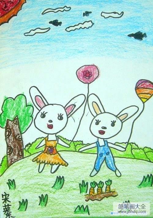 小兔子的故事_小学生小兔子儿童画图片:两只兔子