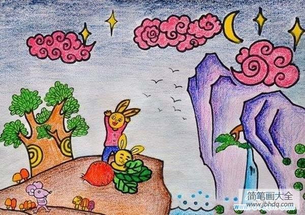 [蜡笔画简单又漂亮]漂亮的老师蜡笔画示范画:兔子与萝卜