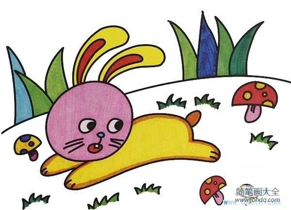[安小兔]幼儿小兔子儿童画油画棒画图片:奔跑的兔子