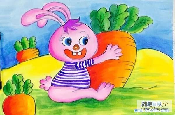 【得奖的画】得奖的小兔子儿童画水彩画美术绘画作品