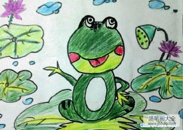 [夏天到了荷花开了青蛙]少儿夏天的青蛙儿童画图片