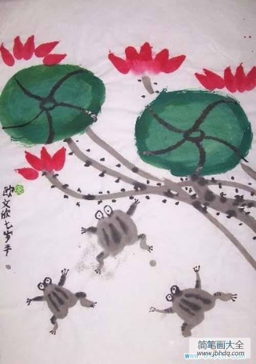[七岁小狐后]七岁儿童水墨画图片:青蛙荷花