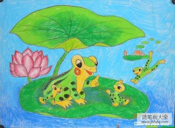 [一张图片找青蛙]青蛙一家儿童画图片
