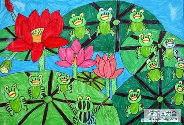 [荷花青蛙池塘图片]一群青蛙荷花儿童图画作品欣赏