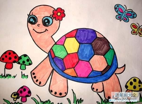 【卡通绘画图片】幼儿卡通雌性乌龟儿童画作品大全图片