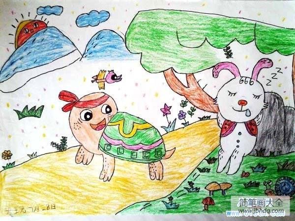 兔子和乌龟赛跑的故事_小学生乌龟赛跑儿童画作品