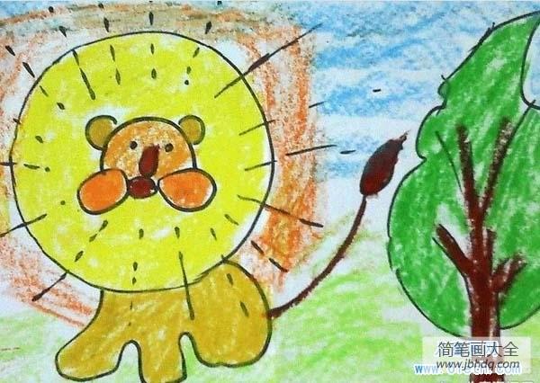 【蜡笔英语怎么读】幼儿蜡笔画图片:狮子