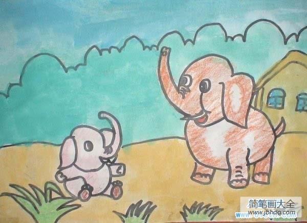动物世界大象和小象_大象妈妈与小象儿童画作品