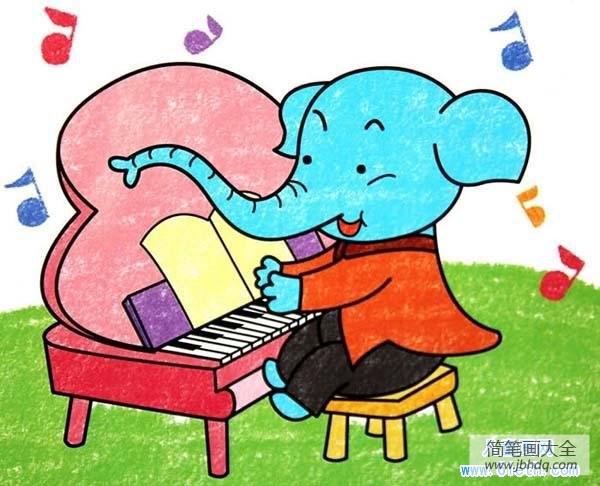 【幼儿园数学练习题】幼儿大象儿童画油画棒画作品:弹琴的大象