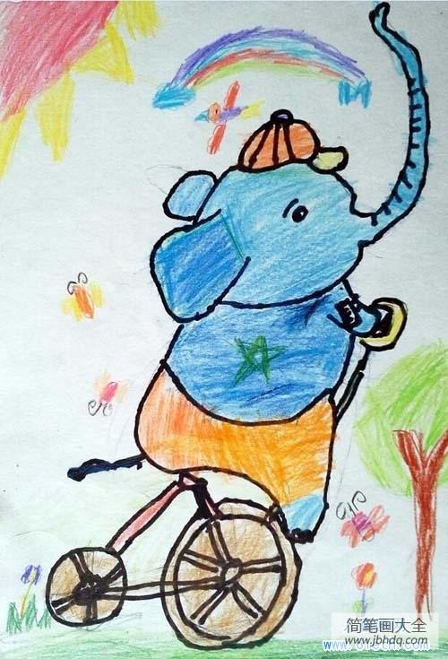 小学一年级数学练习题|小学生关于大象的儿童画图片:马戏团大象