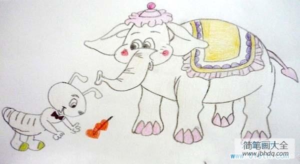 淘大象|优秀大象儿童画作品:大象与蚂蚁
