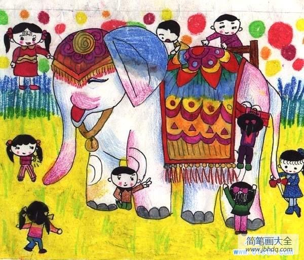 一等奖图片_一等奖大象儿童画作品欣赏:我们与泰国大象