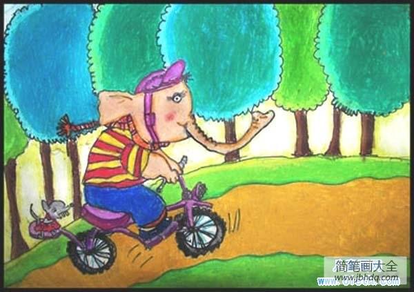 大象图片大全可爱卡通_卡通大象儿童画图片:骑自行车的大象