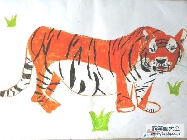 [威风蛋糕]威风的大老虎儿童画绘画图片