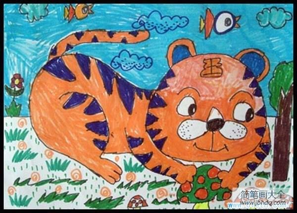 [老虎的简笔画 彩色]彩色老虎儿童画作品大全