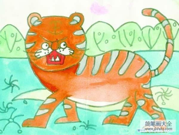 漂亮的小学生老虎儿童画作品