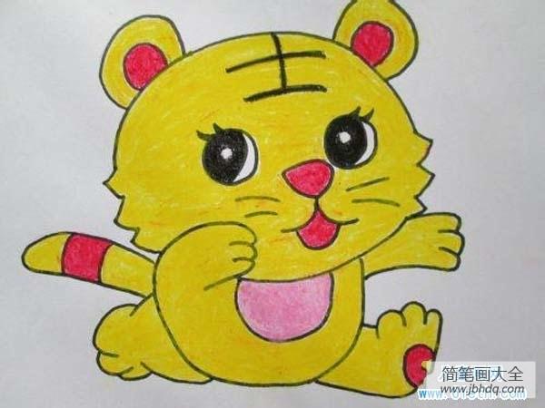 [小老虎简笔画 彩色]一年级彩色小老虎儿童画画作品