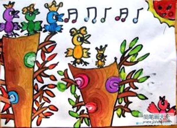 小鸟唱歌的声音是什么_唱歌的小鸟儿童画图片