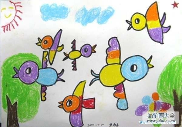 我是一只快乐的小鸟|快乐的小鸟儿童画作品