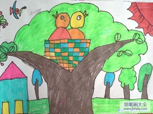 梦见鸟巢里有小鸟_小鸟鸟巢儿童画图片