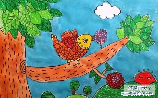 小鸟儿怎么画|优秀小鸟儿童画作品欣赏:树上的小鸟