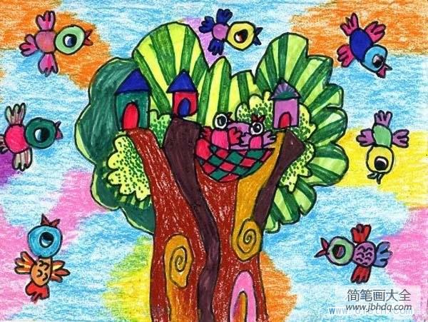 【创意工坊】创意鸟儿童画图片:小鸟音乐会