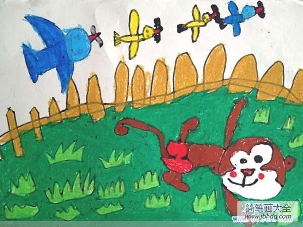 【猴子画画图片大全】幼儿园猴子儿童画画图片:猴子和小鸟