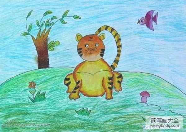 [教师创意蜡笔画作品]儿童蜡笔画:小猫