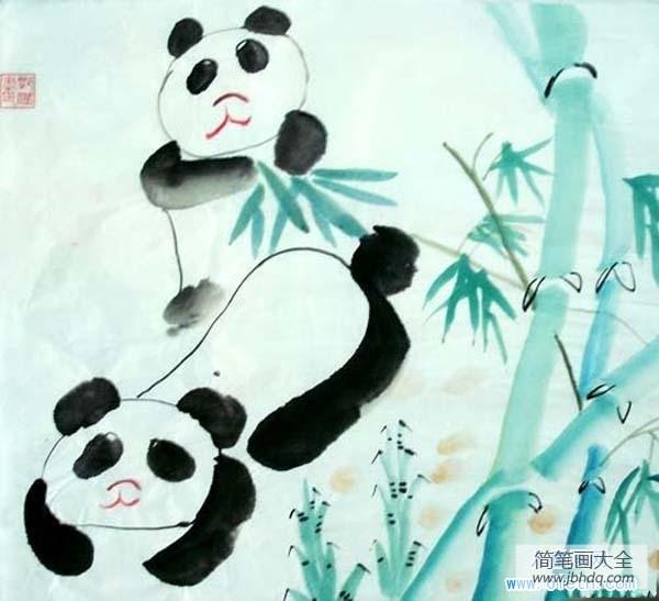 水墨画用什么毛笔_儿童毛笔水墨画作品:两只熊猫