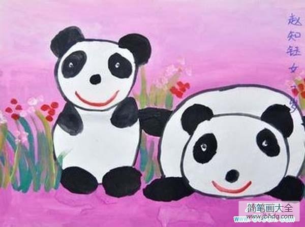 大熊猫图片可爱图片|少儿关于可爱的大熊猫儿童画水粉画图片