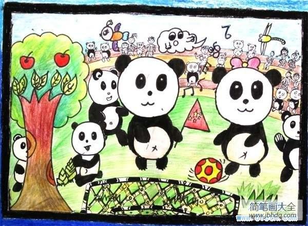 【熊猫图片卡通 图片】小学生卡通熊猫儿童画图片:踢足球的熊猫