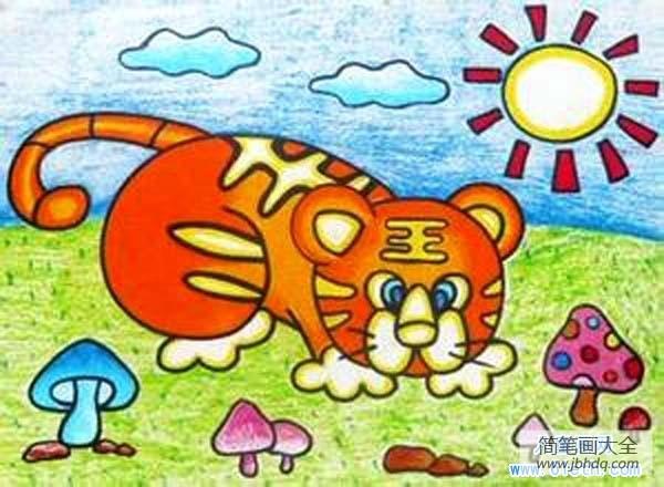 宝宝认图卡片 动物_儿童动物儿童画图片:老虎