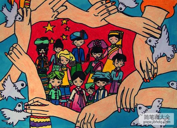 [关于团结的作文]团结儿童画:五十六个民族是一家