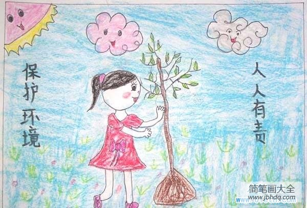 [保护环境]保护环境人人有责儿童画蜡笔画图片