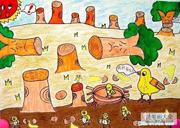 保护树木的标语|保护树木主题环保儿童画蜡笔画作品:小鸟的家