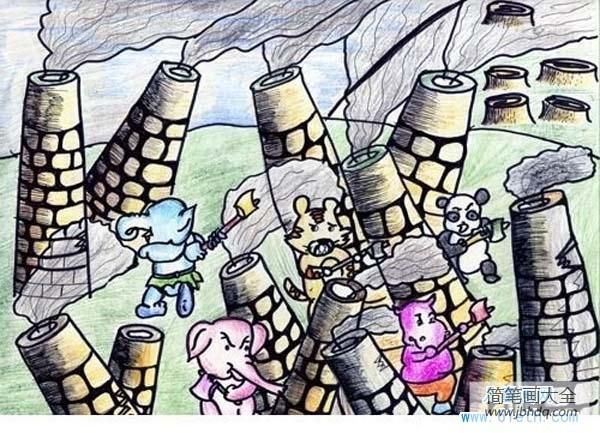 【大班保护环境教案】大班保护环境儿童画图片:保护大气