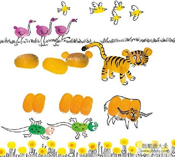 创意指印画|各种动物创意指印画作品大全