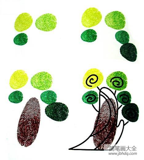 简单又好看指印画大树_儿童创意指印画大树